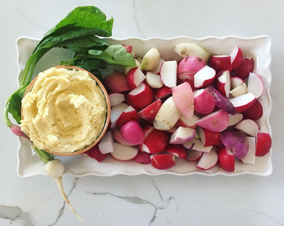radishes and miso butter