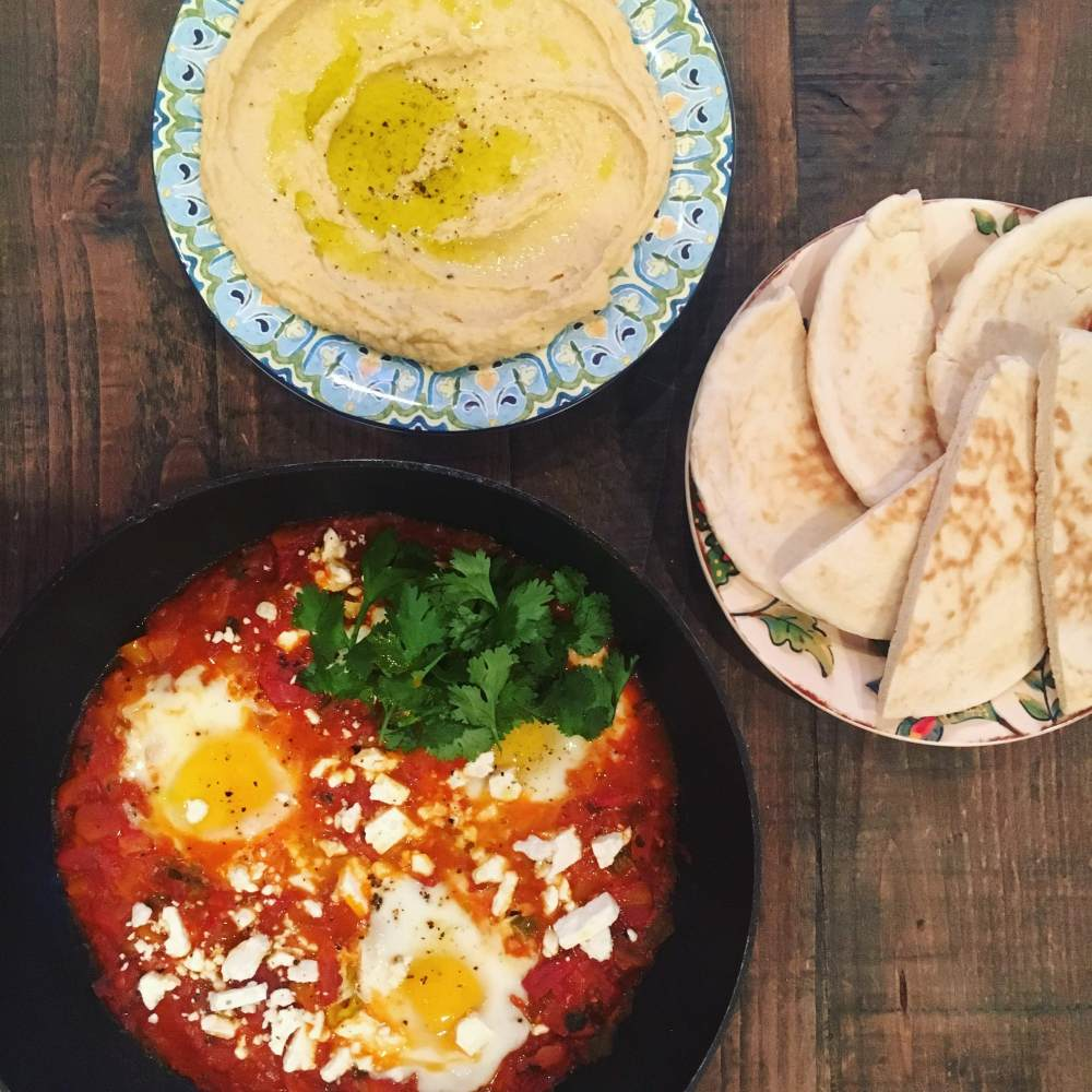 shakshuka and hummus
